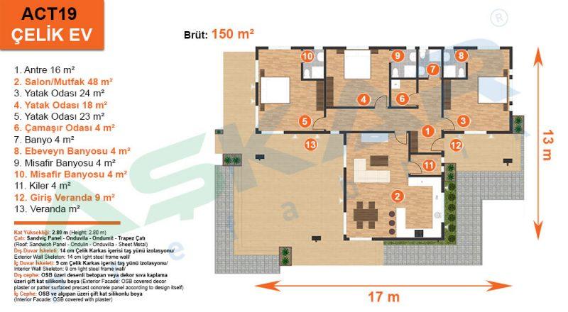 150 metrekare çelik ev planı