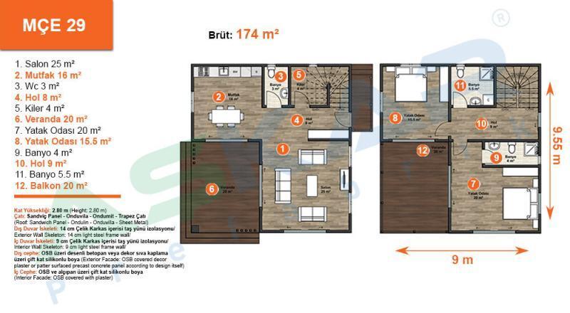174 m iki katlı çelik ev izmir