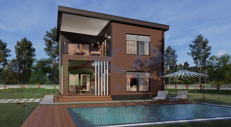 174 m iki katlı modüler ev