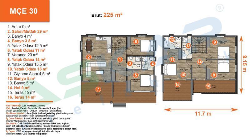 iki katlı moduler ev projesi