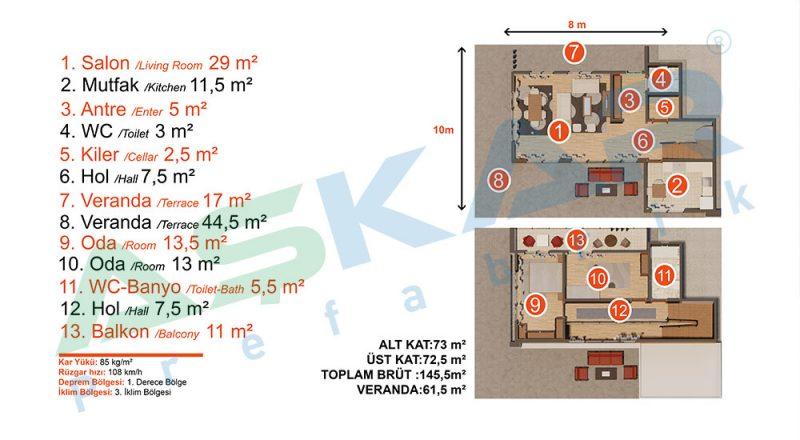 çelik ev modeli planı