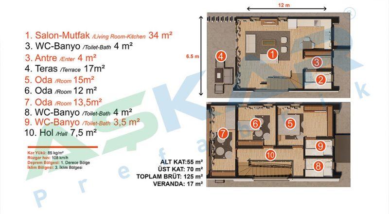 çelik ev modüler yapı planı