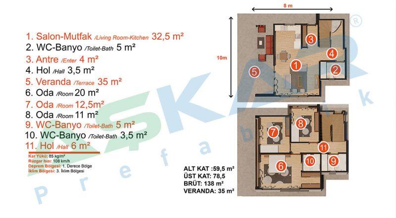 iki kat dubleks modul çelik ev planıiki kat dubleks modul çelik ev planı