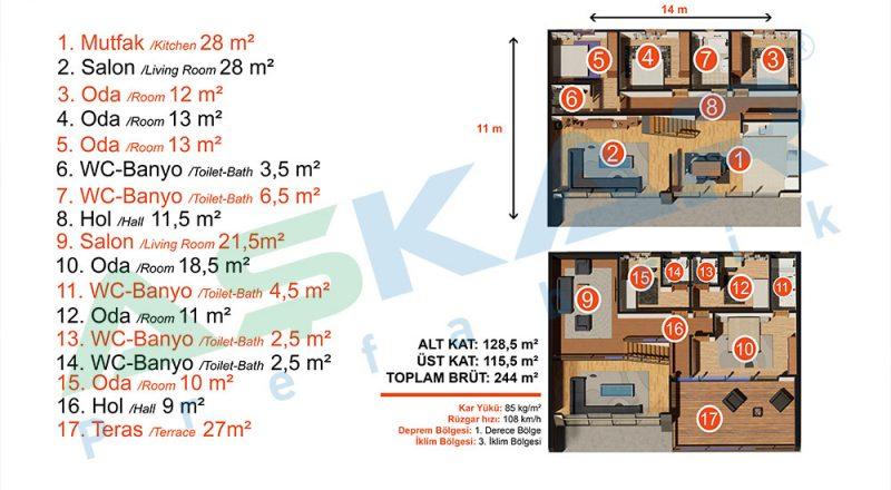 iki kat modüler yapı planı