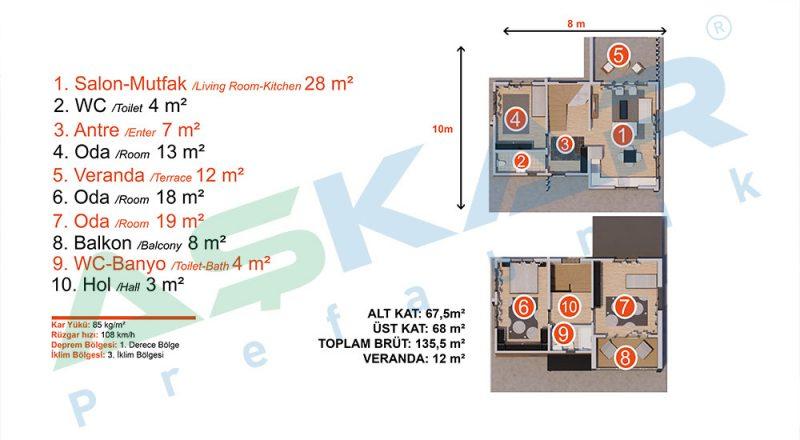 iki katlı çelik modul ev planı