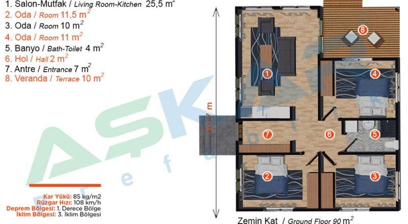 karaburun prefabrik çelik ev planı