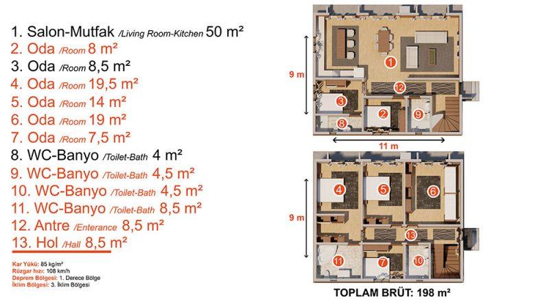 dubleks çelik ev planı