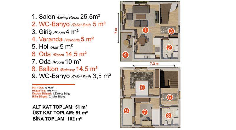 dubleks modüler ev planı