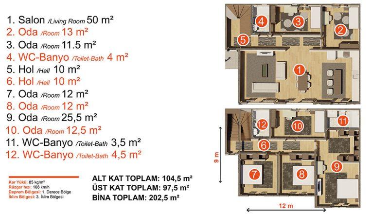 iki kat çelik ev planı