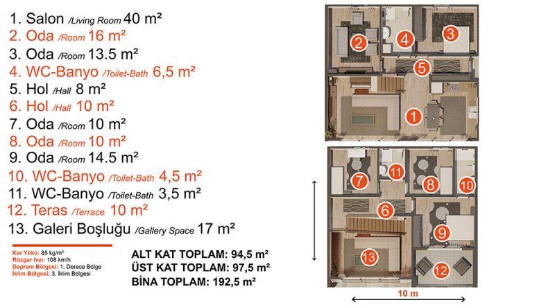 iki katlı modüler ev planı